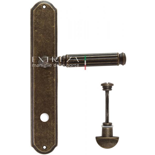 Дверная ручка Extreza Benito (Бенито) 307 на планке PL01 WC античная бронза F23